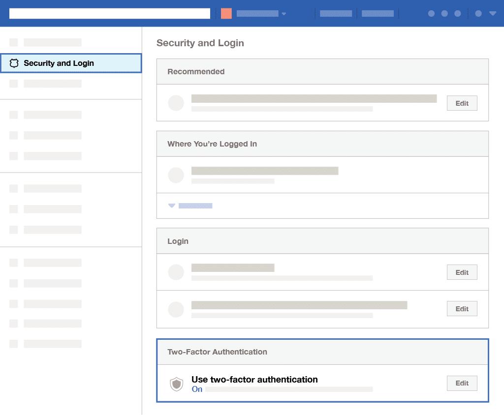 l'authentification à deux facteurs sur Facebook