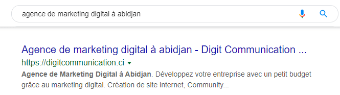 résultats seo de l'agence de marketing digital à abidjan